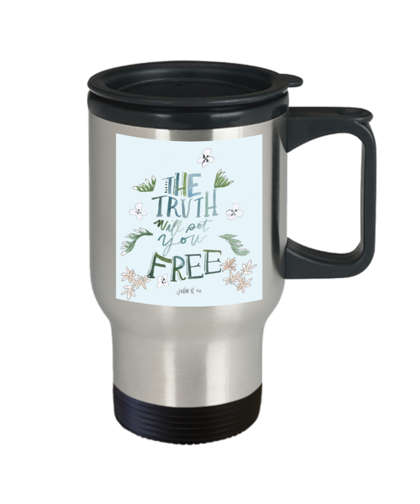 Religious coffee mugs , The truth will pet you free - Stainless Steel Travel Mug 14 oz Gift