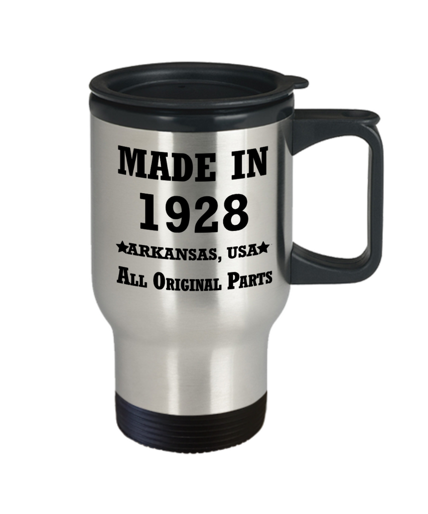 91sr birthday gifts for Men/Women - Made in 1928 All Original Parts Arkansas - Best 91st Birthday Gifts for family Travel Mugs, Funny Mugs Gift Ideas 14 Oz
