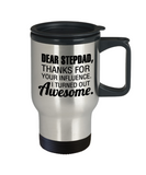 Stepdad gift mugs, Dear Stepdad Thanks for your influence I turned out Awesome - Funny Travel Mug, Premium 14 oz Travel Coffee cup