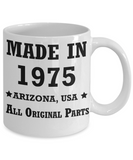 44th birthday gifts for women - Made in 1975 All Original Parts Arizona - Best 44th Birthday Gifts for family Ceramic Cup White, Funny Mugs Gift Ideas 11 Oz