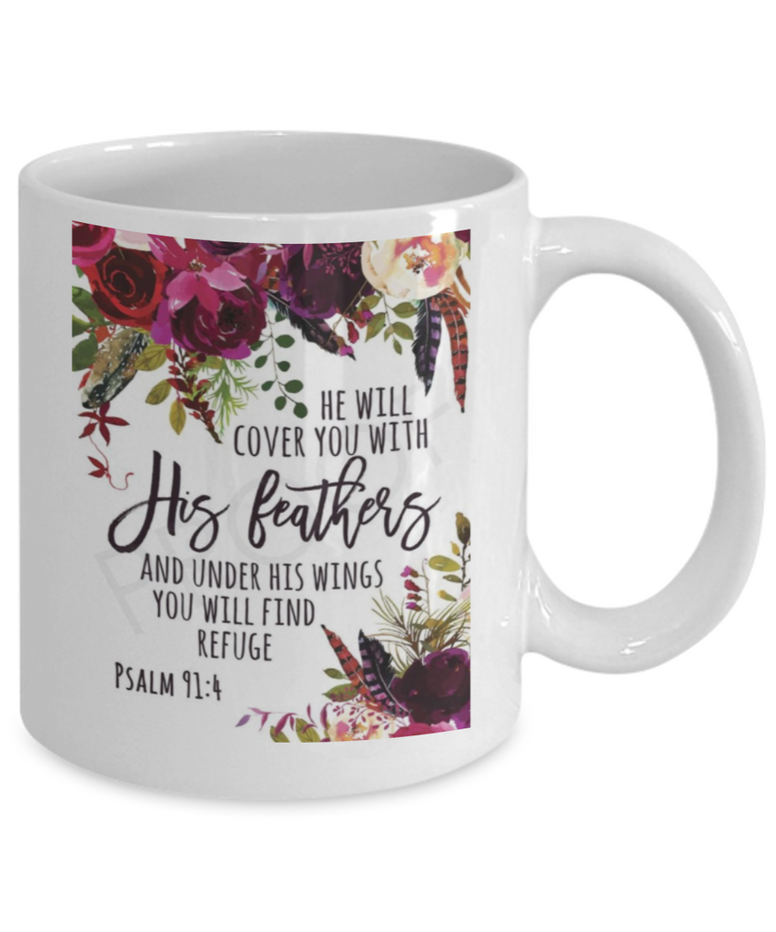 Bible verse mugs for women , He will cover you with his feathers - White Coffee Mug Porcelain Tea Cup 11 oz - Great Gift