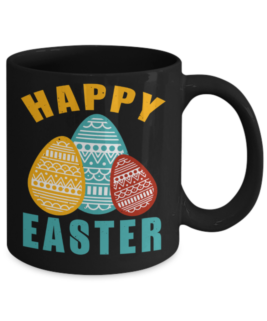 Personal creations gifts easter mugs - Happy Easter - Black Porcelain Coffee Mug Cute Ceramic Cup 11 oz