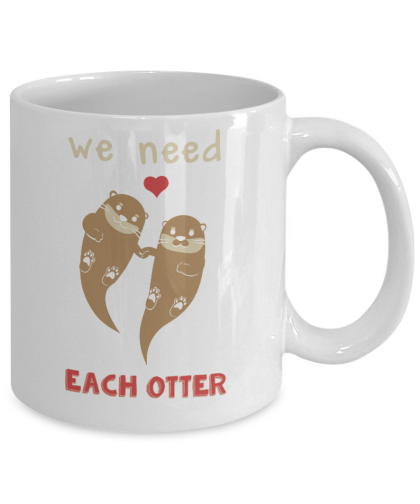 Fish Lovers Mugs , We need each other - White Coffee Mug Porcelain Tea Cup 11 oz - Great Gift