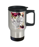 Scripture mugs for women , He will cover you with his feathers  - Stainless Steel Travel Mug 14 oz Gift