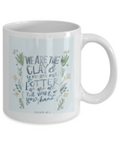 Scripture mugs for women , Clay and Potter - White Coffee Mug Tea Cup 11 oz Gift