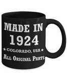 95th birthday gifts - Made in 1924 Colorado All Original Parts - Best 95th Birthday Gifts for family Ceramic Cup Black, Funny Mugs Gift Ideas 11 Oz