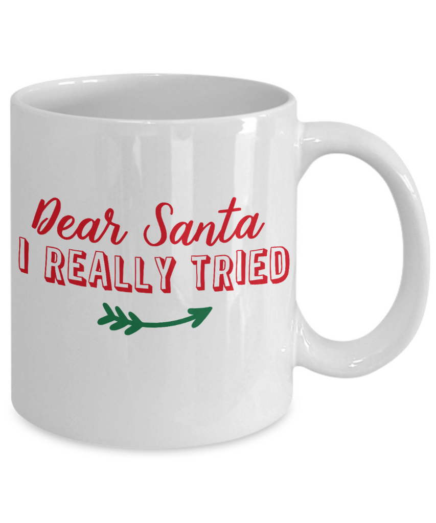 Rumbles the cloud and santa's greatest gift - Dear Santa, I reall7y tried - Funny Santa Gift Mugs, Christmas Gifts for family Ceramic Cup White, Funny Mugs Gift Ideas 11 Oz