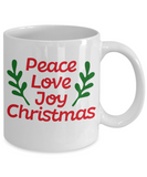 Knightmare before christmas mug - Peace Love Joy Christmas - Funny Christmas Gift Mugs, Christmas Gifts for family Ceramic Cup White, Funny Mugs Gift Ideas 11 Oz