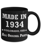 85th birthday gifts for men - Made in 1934 Colorado All Original Parts - Best 85th Birthday Gifts for family Ceramic Cup Black, Funny Mugs Gift Ideas 11 Oz