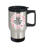 Religious coffee mugs , Pray and never give up - Stainless Steel Travel Mug 14 oz Gift