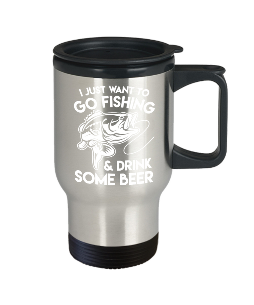 Beer Lovers Gifts , Fishing and Beer - Stainless Steel Travel Insulated Tumblers Mug 14 oz - Great Gift