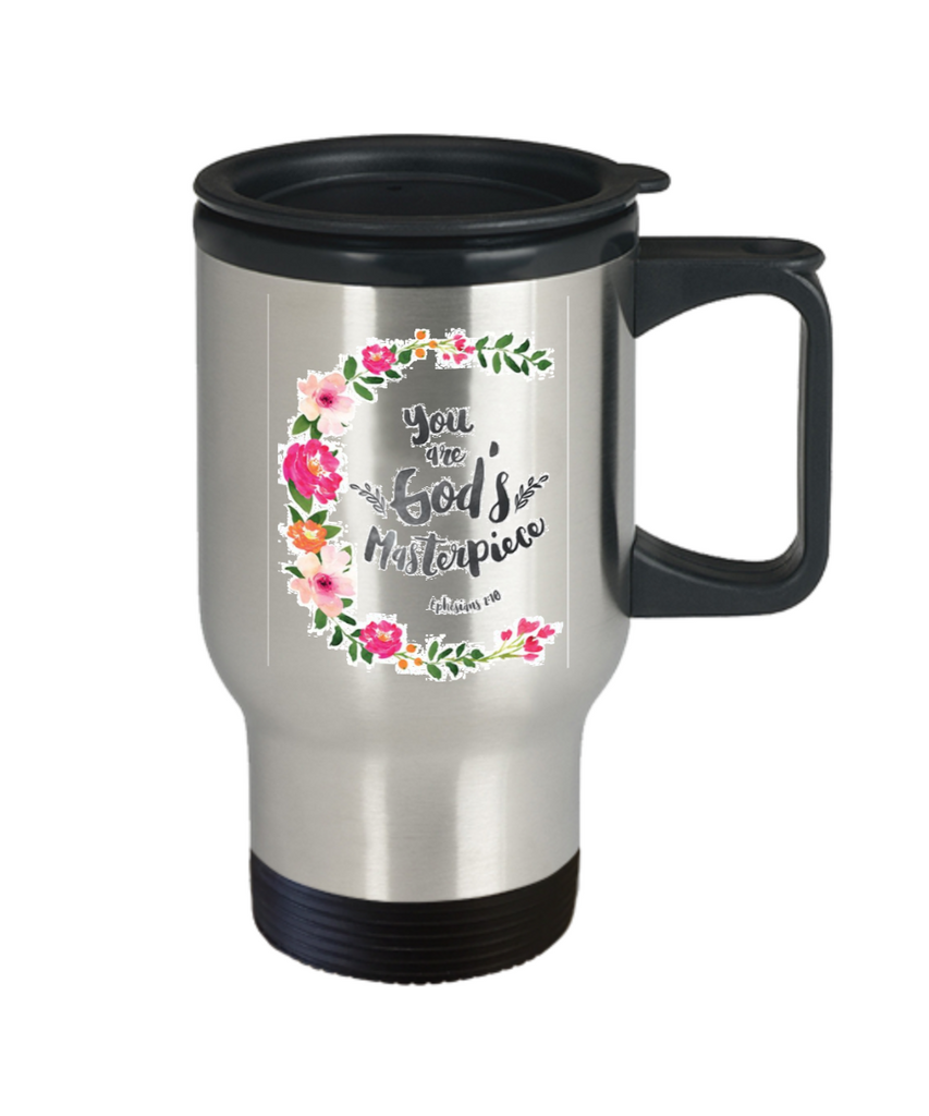 Bible verse mugs for women , You are God's Masterpiece - Stainless Steel Travel Insulated Tumblers Mug 14 oz - Great Gift