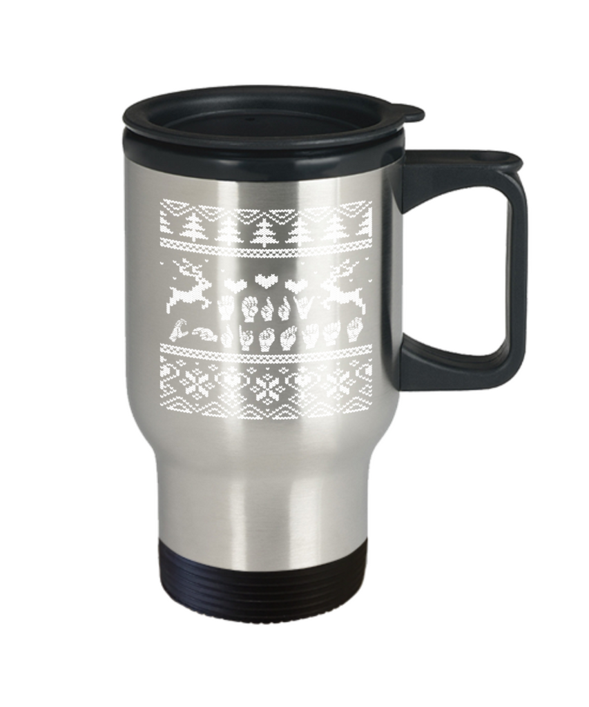 Peets coffee k cups christmas blend , Christmas Reindeers Hands - Stainless Steel Travel Insulated Tumblers Mug 14 oz - Great Gift