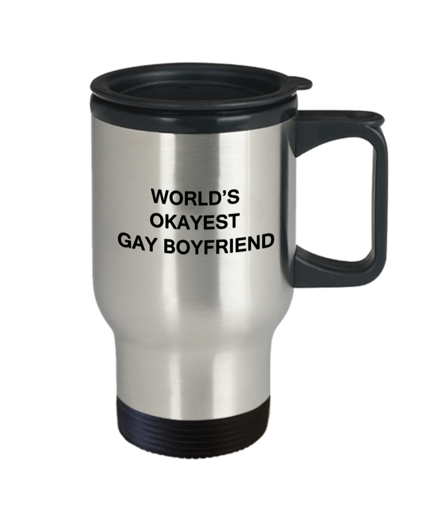 Host gifts for gay couple - World's okayest Gay Boyfriend - Gifts for Gays & Gay Partners, Funny Travel Mugs Gift Ideas 14 Oz