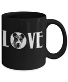 Dog Lovers Mugs , Dog Love - Black Coffee Mug Porcelain Tea Cup 11 oz - Great Gift