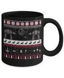 Peets coffee k cups christmas blend , Christmas Reindeers - Black Coffee Mug Porcelain Tea Cup 11 oz - Great Gift