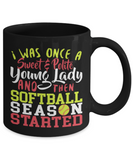 Softball lovers Mugs , Sweet and polite young lady - Black Coffee Mug Porcelain Tea Cup 11 oz - Great Gift