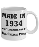 85th birthday gifts for men - Made in 1934 Colorado All Original Parts - Best 85th Birthday Gifts for family Ceramic Cup White, Funny Mugs Gift Ideas 11 Oz