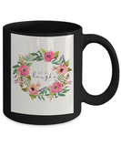 Religious coffee mugs , And she laughs - Black Coffee Mug Tea Cup 11 oz Gift