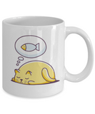 Gift gor cat lovers , Cats dreams fish - Black Coffee Mug Porcelain Tea Cup 11 oz - Great Gift