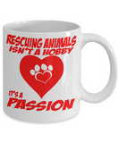 Dog Lover Custom Gift Coffee mug, Rescuing Animals Is a Passion-White Porcelain Coffee Mug 11 oz