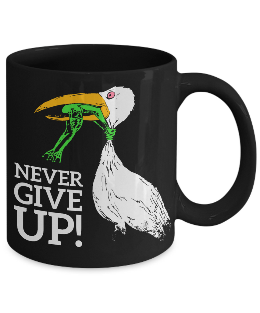 Never give up Black Mugs - Funny Christmas Gifts - Porcelain Black Coffee Mug Cute Cool Ceramic Cup Black, Best Office Tea Mug & Birthday Gag
