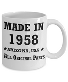 61th birthday gifts for women - Made in 1958 All Original Parts Arizona - Best 61th Birthday Gifts for family Ceramic Cup White, Funny Mugs Gift Ideas 11 Oz