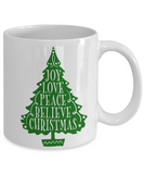 Knightmare before christmas mug - Joy Love Peace Believe Christmas - Funny Christmas Gift Mugs, Christmas Gifts for family Ceramic Cup White, Funny Mugs Gift Ideas 11 Oz