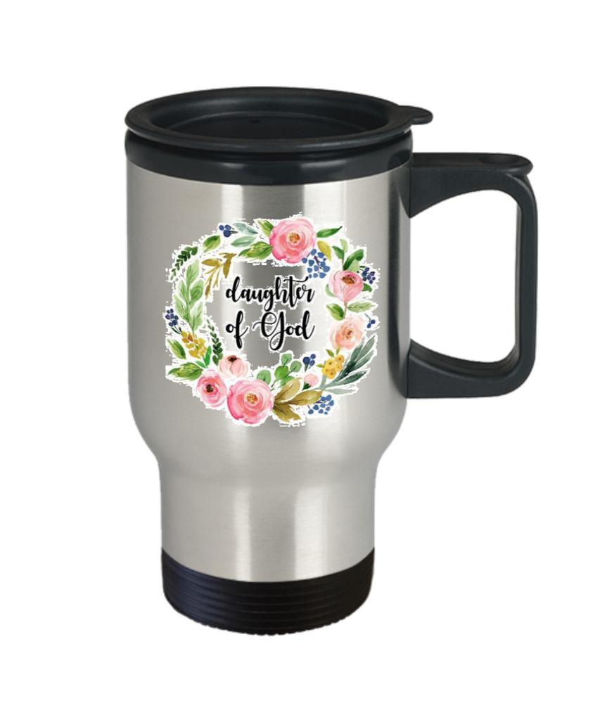 Scripture mugs for women , Daughter of God - Stainless Steel Travel Mug 14 oz Gift