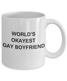 Host gifts for gay couple - World's okayest Gay Boyfriend - Gifts for Gays & Gay Partners, Funny Mugs Gift Ideas 11 Oz