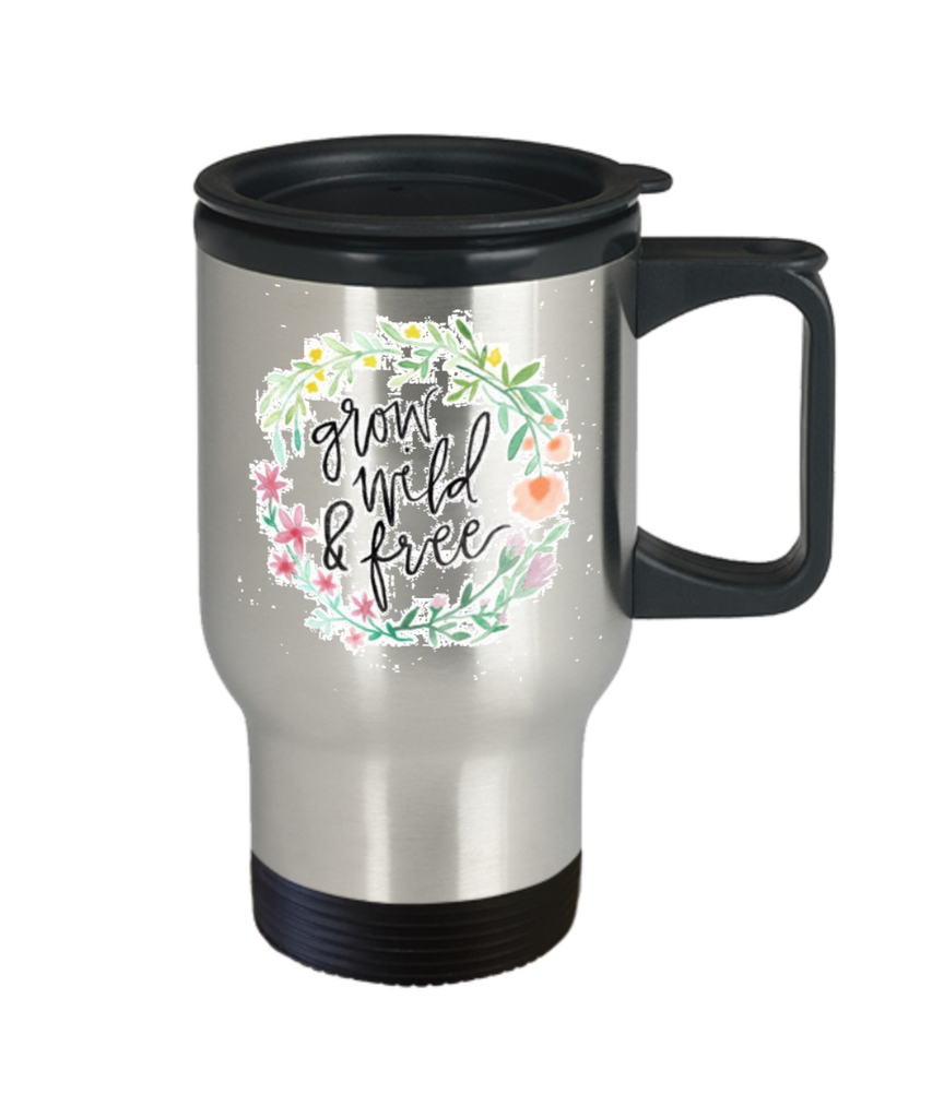 Scripture mugs for women , Grow wild and free - Stainless Steel Travel Mug 14 oz Gift