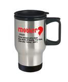 Mothere day gift - Mother, a person who does the work of twenty for free - Travel Mug, Premium 14 oz Travel Coffee cup