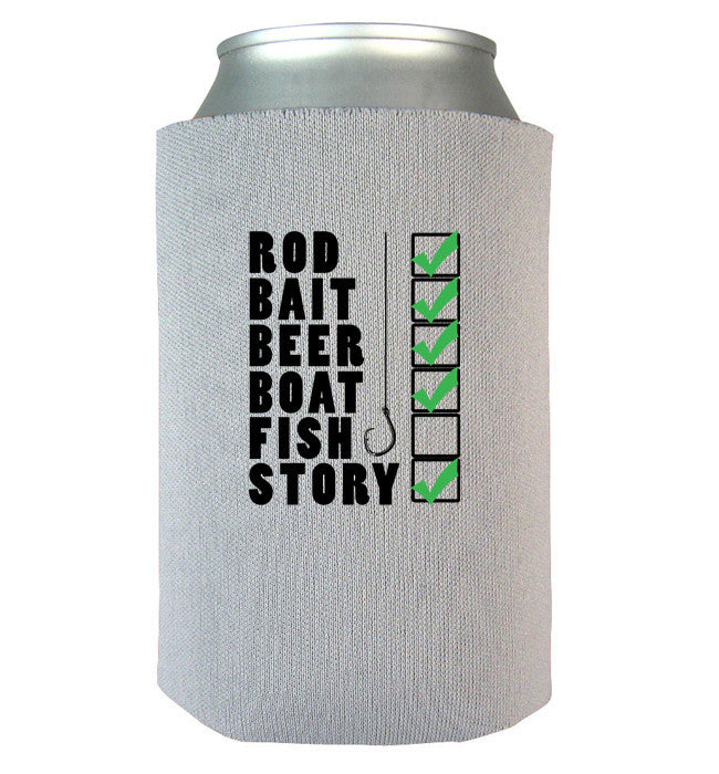 Fishing Checklist Can Koozie - Zapbest2