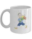 Boy with Flowers coffee mugs - Funny Christmas Gifts - Porcelain White coffee mugs 11 oz
