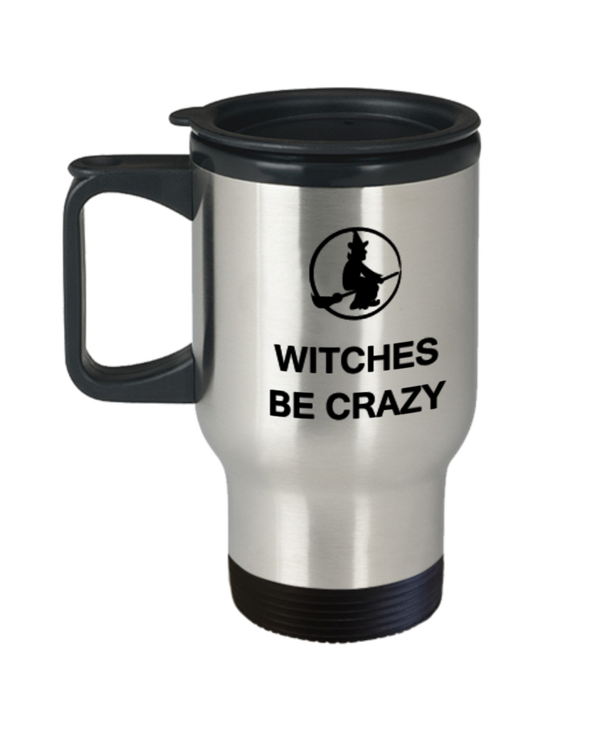 Witches Be Crazy 11 OZ Special Halloween Gift Travel Coffee mugs Witch Broom Hat Scary