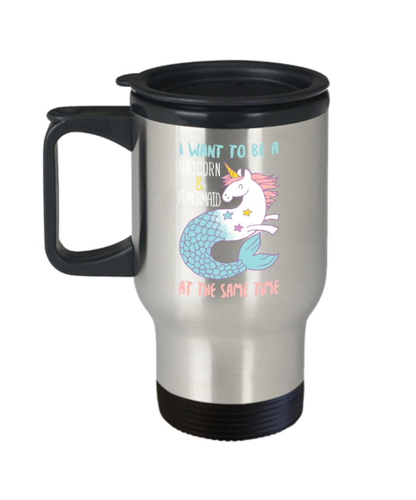 Unicorn and Mermaid - Stainless Steel Travel Insulated Tumblers Mug 14 oz - Great Gift