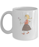 Girl with red flower coffee mugs - Funny Christmas Kids White coffee mugs 11 oz