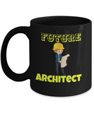Architect Mugs- Black Porcelain Coffee Cup,Premium 11 oz White coffee cup