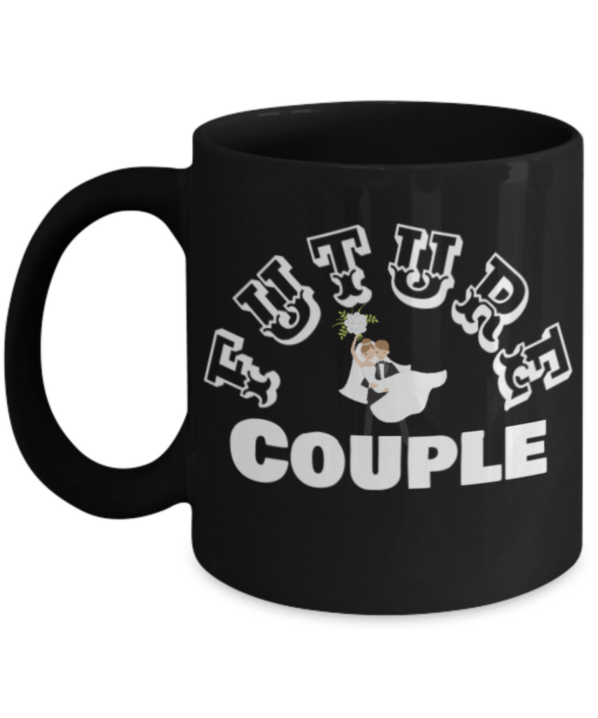 Future Couple Coffee Cup- Black Porcelain Coffee Cup,Premium 11 oz White coffee cup