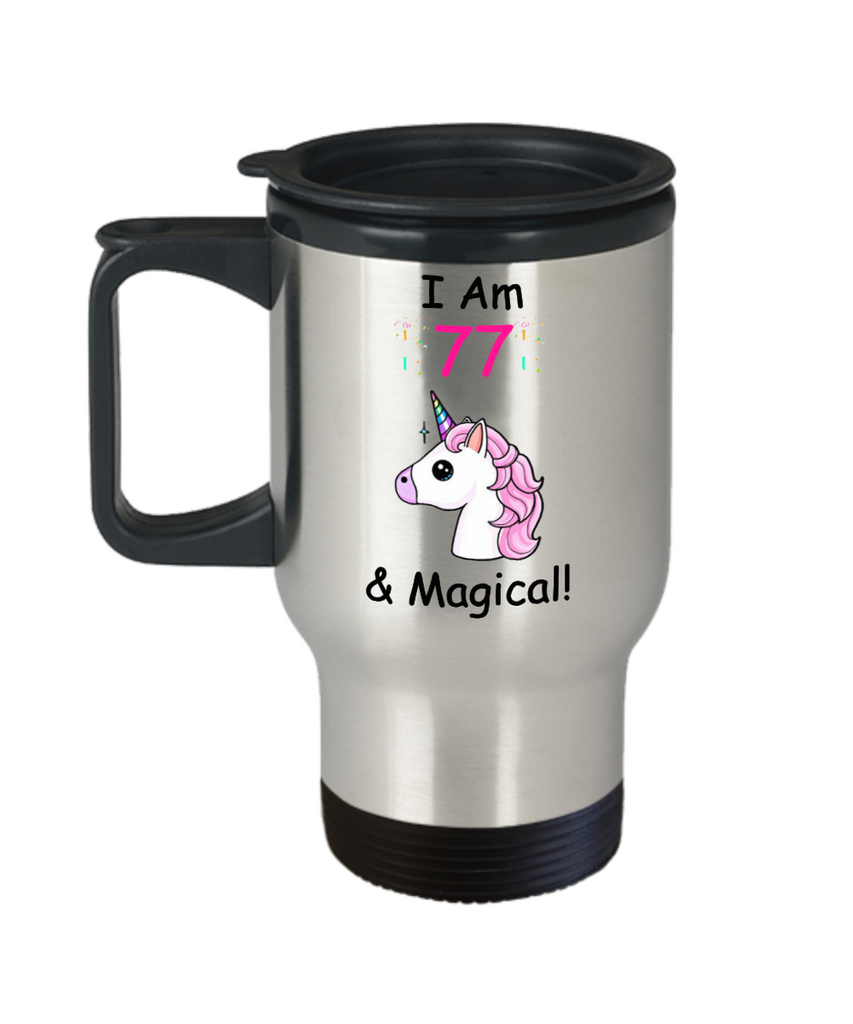 Unicorn Birthday gift 77th Birthday Gift for Women - I Am 77 & Magical Unicorn Mug - Premium 14 oz Travel Coffee Mug - Born In 1943
