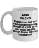 Zach First Name Adult Definition - Funny White Porcelain Coffee Mug Cute Ceramic Cup 11 oz