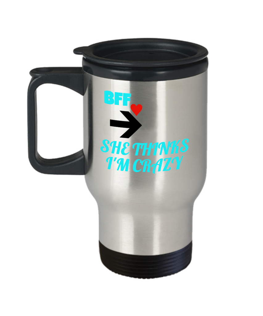 BFF Gift,BFF Travel Mug for Best Friends Forever,Premium 14 oz Travel Coffee cup