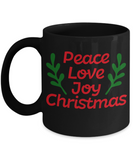 Knightmare before christmas mug - Peace Love Joy Christmas - Funny Christmas Gifts Mugs, Christmas Gifts for family Ceramic Cup Black, Funny Mugs Gift Ideas 11 Oz