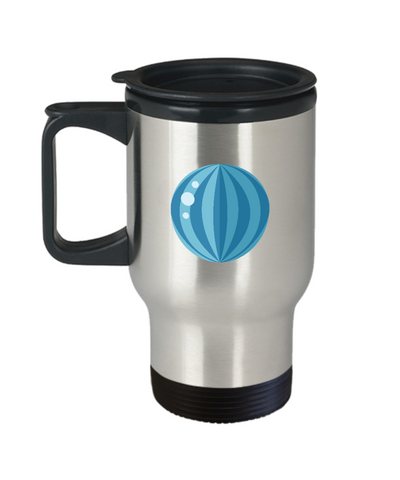 Beach blue ball travel mugs - Funny Christmas Gifts -Travel Coffee Mug Birthday Gag Gifts 14 oz
