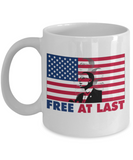 Martin luther king mugshot Speech, Free at last - Funny White Porcelain Coffee Mug Cute Ceramic Cup 11 oz