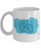 Bluish Watercolor Collection 11 Oz  Funny Porcelain White Coffee Mug