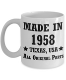 60th birthday gifts for men/women, Texas 1958 Birthday Gift Mugs - Made in 1958 All Original Parts - Best 60th Birthday Gifts for family Ceramic Cup White, Funny Mugs Gift Ideas 11 Oz