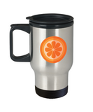 Orange cut travel mugs - Funny Christmas Gifts - Porcelain 14 oz Travel mugs