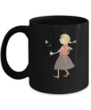 Girl with red flower school Black Mugs - Funny Christmas Kids Black coffee mugs 11 oz
