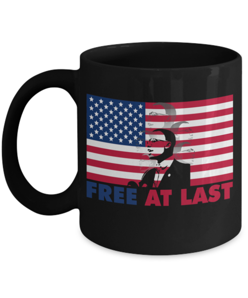 Martin luther king jr malcom x and the civil rights struggle, Freedom at Last - Black Porcelain Coffee Mug Cute Ceramic Cup 11 oz